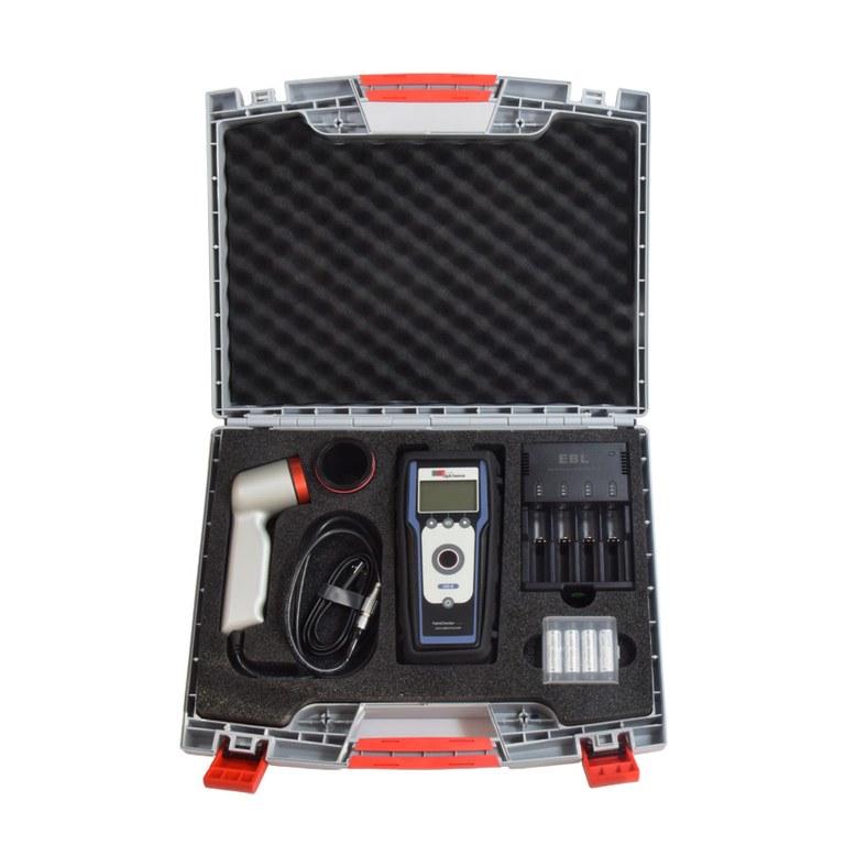 photothermal non-destructive coating thickness measurement device PaintChecker mobile LED blue 591 case